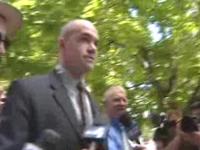 Tim DeChristopher walking to court.