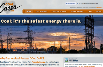 A screenshot of CoalCares.org